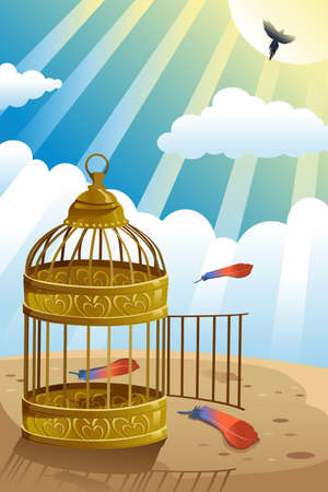 releasing: A vector illustration of releasing bird from the cage for let it go or freedom concept Illustration