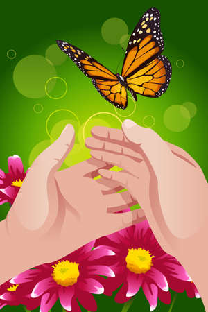 to let: Una illustrazione vettoriale di mani rilasciando farfalla per lasciarlo andare o concetto di libert�