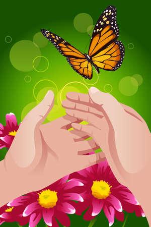 let on: Una ilustraci�n vectorial de manos liberaci�n de la mariposa para dejarlo ir o concepto de la libertad Vectores
