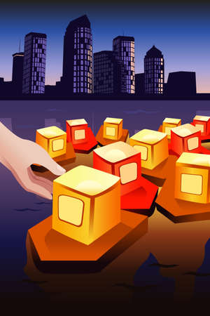 floating on water: A vector illustration of floating river lanterns for let it go or freedom concept Illustration