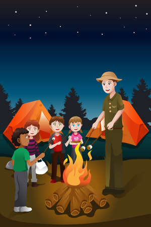 子供たちと夏のキャンプで焚き火を持つカウンセラーのベクトル イラスト