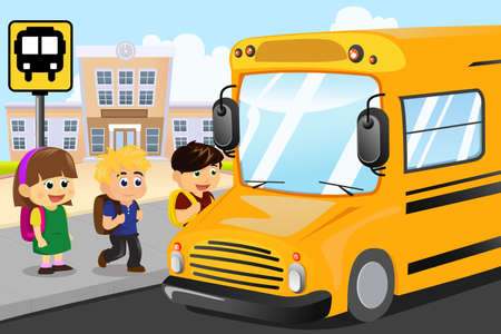 female child: A vector illustration of kids waiting to get on a school bus
