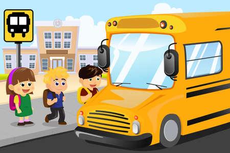 cartoon school girl: Una ilustraci�n vectorial de ni�os esperando para entrar en un autob�s escolar