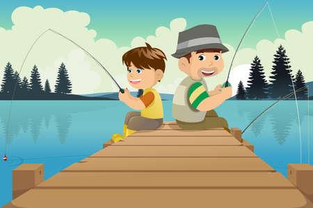 Een vector illustratie van vader en zoon zitten op een dok vissen