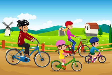 A vector illustration of happy family going biking together in a countryside rural area Vectores