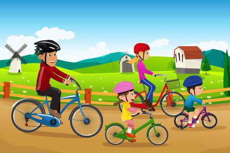 ni�os en bicicleta: Una ilustraci�n del vector de la familia feliz que va en bicicleta juntos en una zona rural de campo