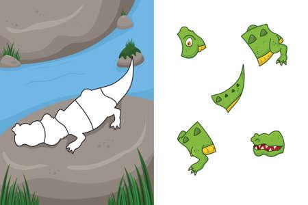 A vector illustration of crocodile puzzle