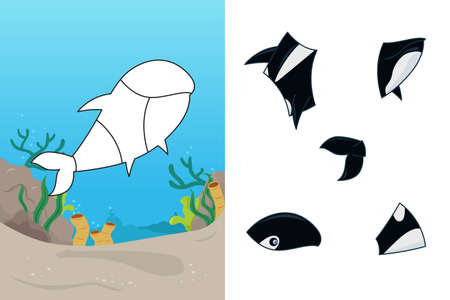A vector illustration of whale puzzle Vector