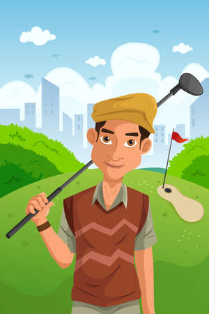 An illustration of healthy man holding golf club