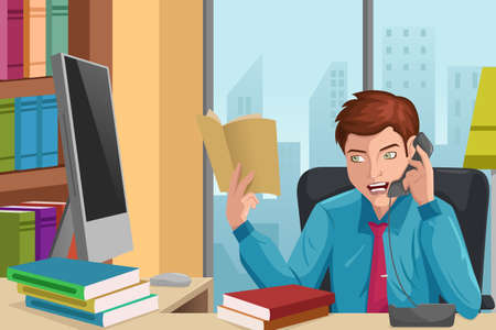 An illustration of handsome businessman talking on the phone in his office