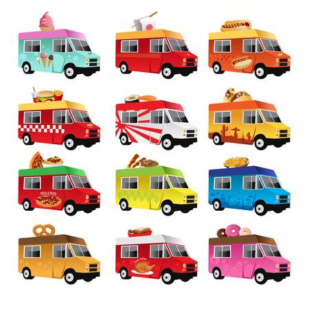 truck: A  illustration of food truck icon designs