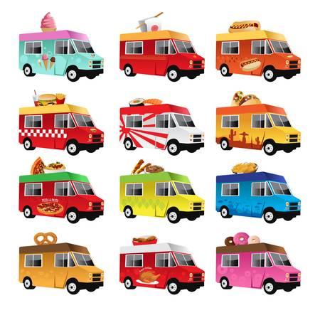 comida: Una ilustración del icono de camión de alimentos diseños Vectores