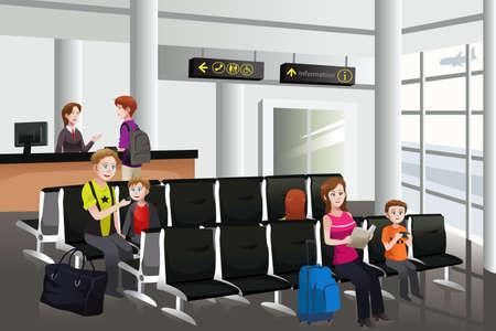 A vector illustration of passengers waiting for their flight at airport Ilustração