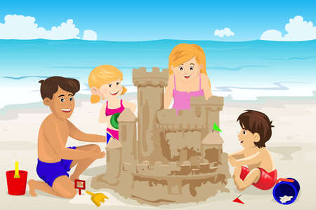 kids playing outside: A vector illustration of happy family building sand castle on beach