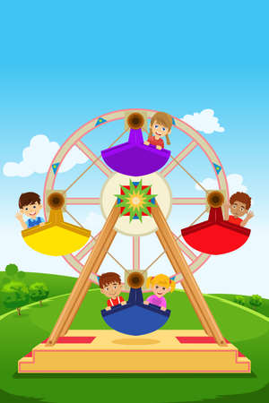 A vector illustration of happy kids riding a ferris wheel