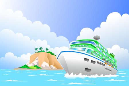 Een vector illustratie van luxe cruiseschip in de zee voor reizen concept