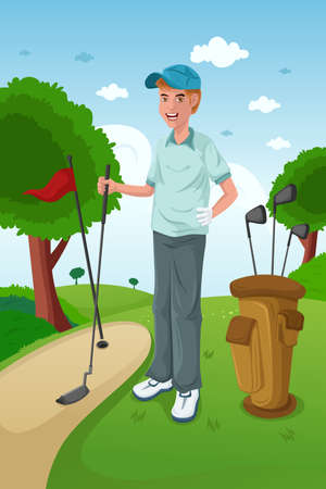 golf glove: A vector illustration of healthy man playing golf on a green