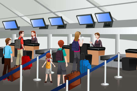 A vector illustration of passengers lining up at check-in counter
