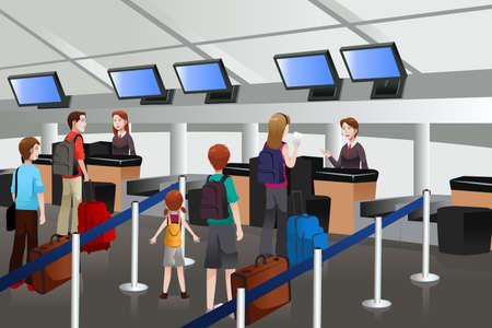 fila de espera: Una ilustraci�n vectorial de pasajeros haciendo cola en el mostrador de facturaci�n