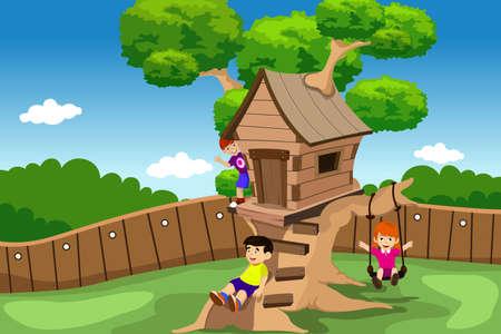 oyun zamanı: Çocuklar bir vektör çizim bir ağaç evde oyun Çizim
