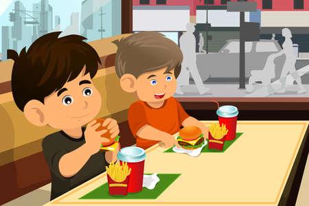 eating fast food: Una ilustraci�n vectorial de ni�os felices comiendo una hamburguesa y papas fritas en un restaurante de comida r�pida