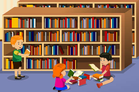 library: A vector illustration of kids reading a book in the library