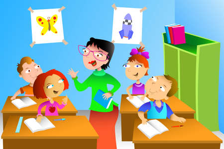 adults learning: A vector illustration of kids studying math in classroom with teacher