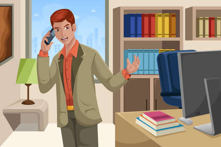 A vector illustration of handsome businessman talking on the phone in his office