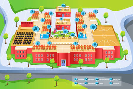 A vector illustration of map of school