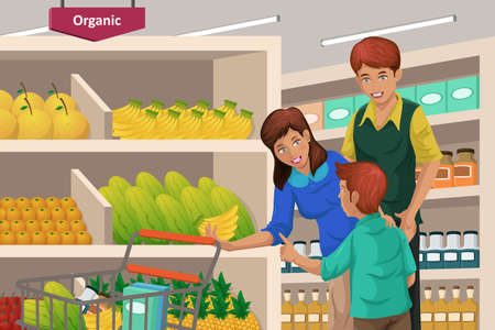 Una ilustración vectorial de un feliz frutos comerciales de la familia en un supermercado