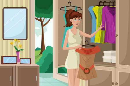 A vector illustration of  young woman selecting an outfit from her wardrobe