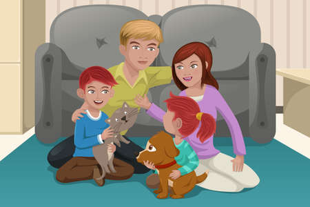 A vector illustration of happy family playing together with their pets Vector
