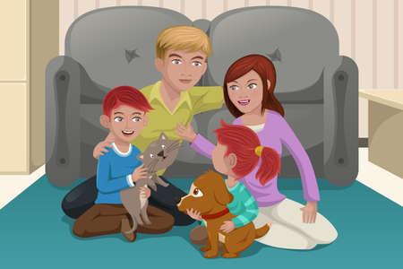 perro familia: Una ilustración vectorial de familia feliz jugando con sus mascotas Vectores