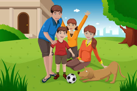 dad daughter: A vector illustration of happy family having fun with their pet outside their house Illustration