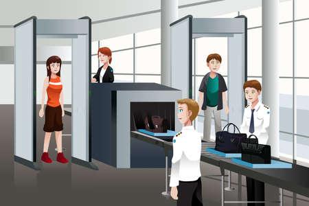 safety check: Una ilustraci�n vectorial de pasajeros caminan a trav�s de control de seguridad