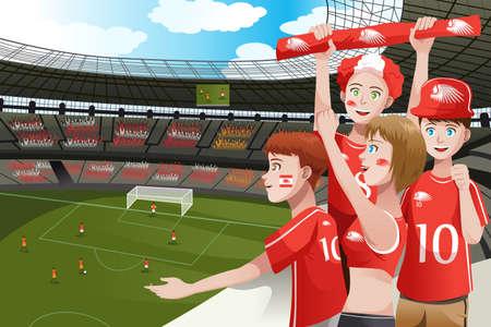 deportes caricatura: Una ilustraci?ectorial de los aficionados al f?l animando el interior del estadio Vectores