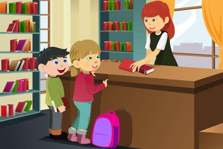 tomar prestado: Una ilustraci�n vectorial de un ni�os felices pr�stamo de libros en la biblioteca Vectores