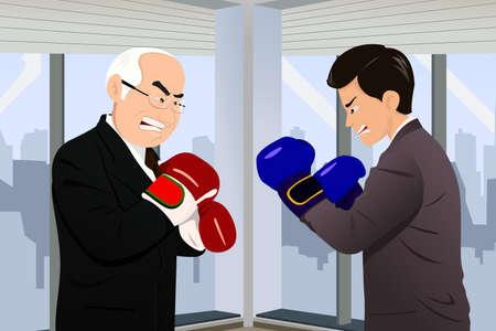 empleos: Una ilustración vectorial de dos hombres de negocios en trajes de negocios frente a frente con los guantes de boxeo para el concepto de negocio