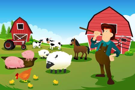A vector illustration of a farmer at his farm with farm animals