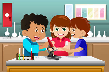 A vector illustration of kids making science experiment in a lab Vector