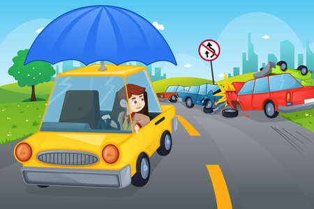 insurance protection: A vector illustration of cars in an accident for car insurance concept