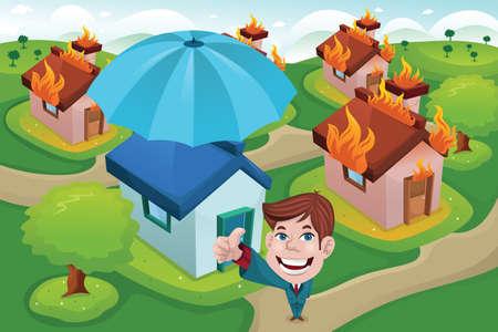 incendio casa: Una ilustración del vector de la casa en el fuego por concepto de seguro de la casa Vectores