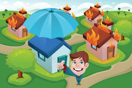 A vector illustration of house in fire for house insurance concept