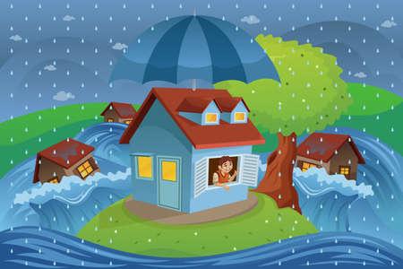 Een vector illustratie van huis in een vloed van huis verzekering begrip Stock Illustratie