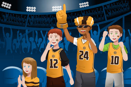 A vector illustration of basketball fans cheering inside the stadium