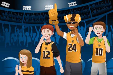 A vector illustration of basketball fans cheering inside the stadium