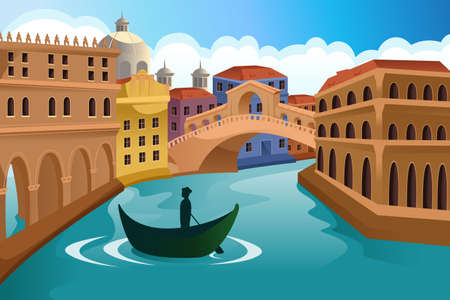 barco caricatura: Una ilustraci�n vectorial de una escena de ciudad europea