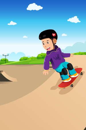 skateboard park: Una ilustraci�n del vector de ni�o lindo jugar patineta en un parque de patinaje