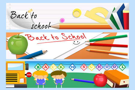 Een vector illustratie van terug naar school banner ontwerpen