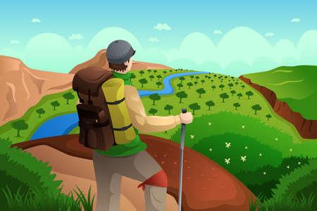 Een vector illustratie van wandelaar met rugzak staan op de top van de berg